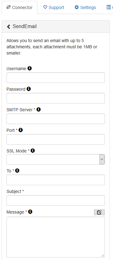 SMTP Connector config
