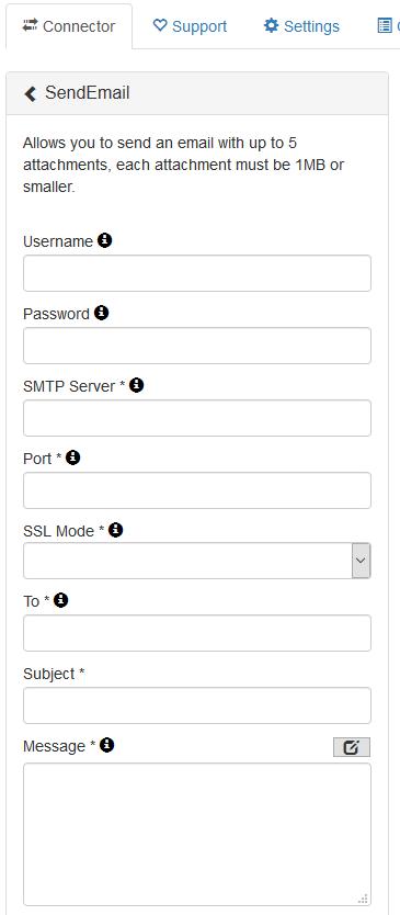 SMTP Connector config
